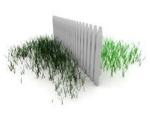 3d: Gras ist immer auf der anderen Seite des Zauns grüner lizenzfreie abbildung