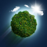 3D grassy globe with daisies and buttercups on a blue sky backgr Stock Photography