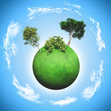 3D grassy globe with trees and bushes Stock Photography