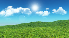 3D grassy landscape Stock Photos