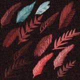 3D gravou o fundo de superfície pintado Folhas de outono gravadas no fundo do inclinação ilustração stock