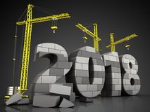 3d gray brick 2018 year. 3d illustration of cranes building gray brick 2018 year over black background Stock Image