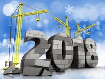3d gray brick 2018 year. 3d illustration of cranes building gray brick 2018 year over snow background Royalty Free Stock Photos