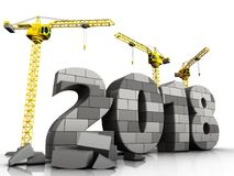 3d gray brick 2018 year. 3d illustration of cranes building gray brick 2018 year over white background Stock Photo