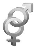 3D gray female and male sex symbol. 3D gray pink female and blue male sex symbol with shadow Royalty Free Stock Photography