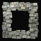 3d gray frame tile grunge pattern on black Royalty Free Stock Photos