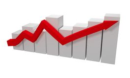 3d gray graph with red arrow. 3d rendering Stock Photo