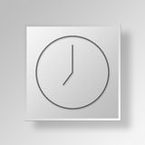 3D Gray Square Object Symbol Concept-klok Royalty-vrije Stock Foto