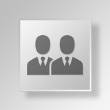3D Gray Square Object Symbol Concept-Mensen Royalty-vrije Stock Foto's