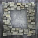 3d gray square tile grunge pattern on gray grungy wall Stock Photos