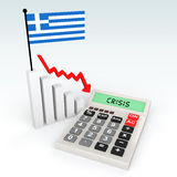 3d Greece crisis concept. 3d render of Greece crisis concept with calculator and flag Stock Photography