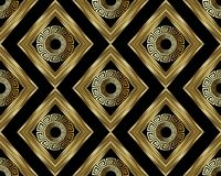 3d Greek key meander gold seamless pattern. Vector abstract geom. Etric background. Vintage ancient greek ornament with rhombus, circles, frames, . Surface Stock Images