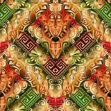 3d greek vector seamless pattern. Colorful abstract ornate background. Geometric shapes, figures, zigzag, rhombus, greek key, meanders borders.  Vintage Royalty Free Stock Image