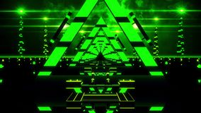3D Green Abstract Triangles Tunnel VJ Loop Background stock footage