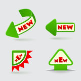 3d green arrow labels  on gray background. 3d green arrow labels  on gray Royalty Free Stock Photo