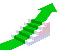 3d Green arrow points up steps. 3d render of a green arrow climbing up steps Royalty Free Stock Photos