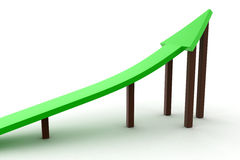 3d green arrow up rising with wodden blocks Royalty Free Stock Photography