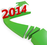 3D green arrow with year 2014 Stock Photo