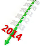 3D green arrow with year 2014 Stock Photography