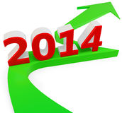 3D green arrow with year 2014 Stock Images
