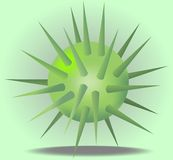 3d green ball with prickles. On light green background Stock Image