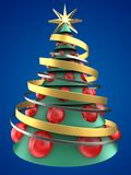 3d green and blue xmas tree. 3d illustration of green and blue xmas tree over blue background with big red balls Royalty Free Stock Images
