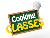 3d green board with chef hat and cooking classes text Stock Photography