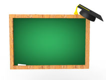 3d green board and graduation hat Royalty Free Stock Image
