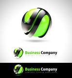 3D Green Business Logo. With abstract creative shapes presented on white and black backgrounds Royalty Free Stock Photography