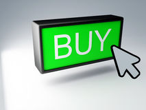 3d green buy button. Black mouse cursor pointing towards green buy button Royalty Free Stock Image