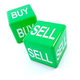 3d Green buy and sell dice Royalty Free Stock Photos