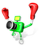 3d Green Camera Character Boxer Victory the serenade. Create 3D Royalty Free Stock Photos