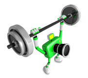 3D Green Camera character is doing powerful Weightlifting Exerci Royalty Free Stock Photo