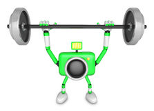 3D Green Camera character is doing powerful Weightlifting Exerci Royalty Free Stock Images