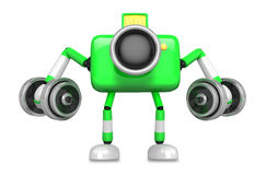 3D Green Camera character a Dumbbell Kick Back Exercise. Create Stock Photography