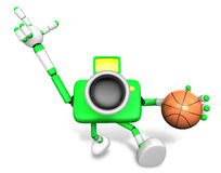 3D green camera character holding a basketball running. Create 3 Stock Photos