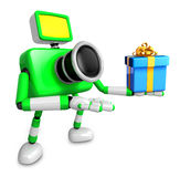 3D Green Camera character holding a gift. Create 3D Camera Robot Stock Image