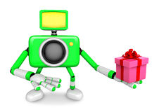 3D Green Camera character holding a gift. Create 3D Camera Robot Stock Photo
