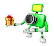 3D Green Camera character holding a gift. Create 3D Camera Robot Stock Images