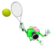 3D Green Camera character is a powerful tennis game play exercis Stock Image
