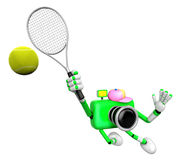 3D Green Camera character is a powerful tennis game play exercises Royalty Free Stock Photo