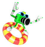 3d green Camera character surfing on lifebuoy. Create 3D Camera Royalty Free Stock Images