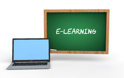 3d green chalkboard and laptop e-learning concept Stock Images