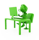 3d green character. Operator - programmer working on computer. 3d green character. Operator - programmer.  on white Royalty Free Stock Photos