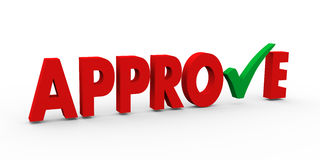 3d green check mark approve. 3d illustration of green right tick check mark symbol in the word approve Stock Photos
