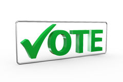 3d green check mark with word vote. 3d illustration of green right tick check mark symbol with word vote Royalty Free Stock Photos