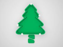 3d green christmas tree isolated on white Stock Photography