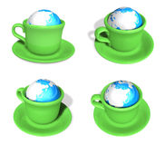 3D Green coffee cup icon in the genus Earth. 3D Icon Design Seri Royalty Free Stock Photo