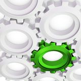 3d green cog with white crowd. On white background Stock Photo