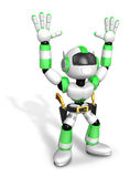3D Green cowboy robot with both hands in a gesture of surrender. Royalty Free Stock Photos